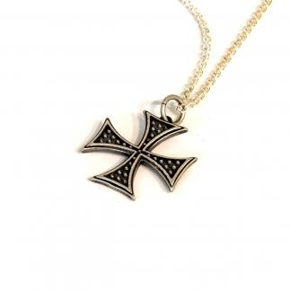 Zilveren maltese cross pendan